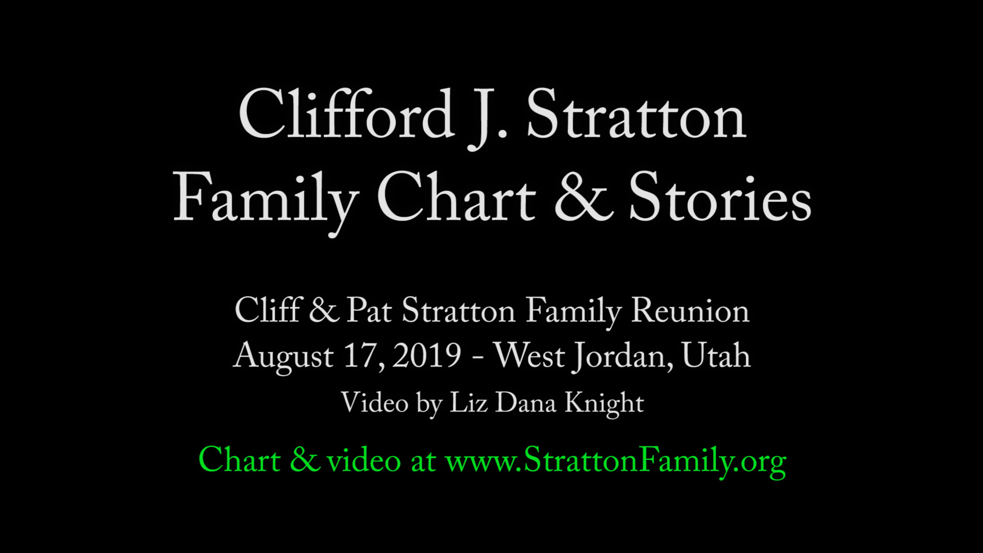 2019 Reunion Cliff Family Chart & Stories